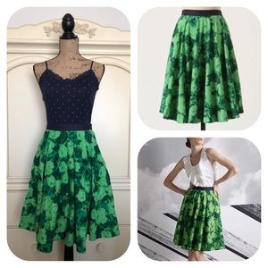 Anthropologie Edme & Esyllte Green Thumb Skirt